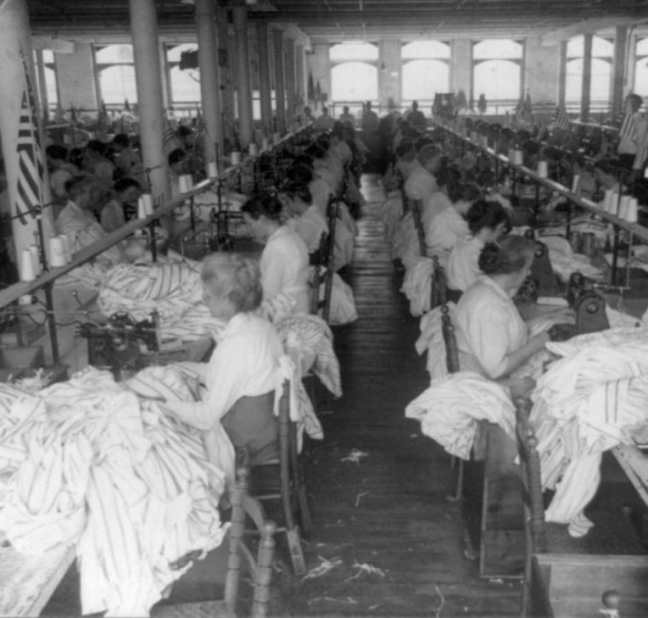Sewing room, shirt factory, Troy, N.Y. -Image courtesy of the Library of Congress